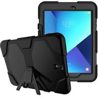 casos híbridos de silício venda por atacado-Moda Stand Caso Silicon + PC híbrido stand Case Capa Para Samsung Galaxy Tab S3 9.7 T820 T825 Prova de Choque Multifunc + caneta