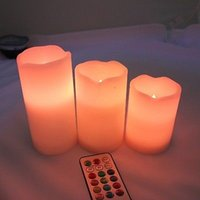 Wholesale Color Changing Candles Remote - Colorful 3 x Remote Control LED Changing Vanilla Flameless with Time wax candles