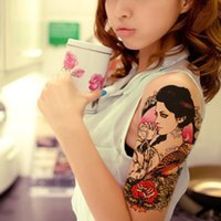 af0e2c960 Wholesale- 1pcs Beauty Fake Tattoo For Women Sticker On The Body Art Sexy  Girl Owl Tattoo Wolf Designs Temporary Tattoo Sleeves Rose Flower