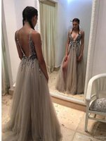 Wholesale Power Thighs - 2017 Sexy Beads Thigh Split Evening Dresses Plunging Neckline Appliques Backless Prom Gowns Floor Length Tulle Evening Party Dress