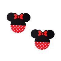Wholesale Bow Jewelry Boxes Wholesale - 33*28mm Cartoon Black Base Red Bow Polka Dots Minnie Mouse Planar Resin DIY Kids Girls Hair Center Jewelry Decoden Craft 30Pcs