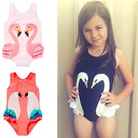 Wholesale 18 Month Girl Swimwear - Girls Swimsuit Cartoon Kids Swimwear with Swimming Cap Parrot Swan Flamingo Baby Girl Bathing Suit One Piece Swim Wear Wholesale 2506101