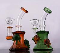 recicle o mini equipamento venda por atacado-Mel copo reciclar plataformas de petróleo tubos mini colorido vidro hookah bong oil rig cheongs bongs de vidro baratos bonito bong bonger base verde