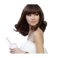 Wholesale Sexy Ladys Fashion - 100% New High Quality Fashion Picture full lace wigs Sexy Ladys Mid-Long Fashion Curly Brown Black Wigs Party Wave Cosplay Hair Wig