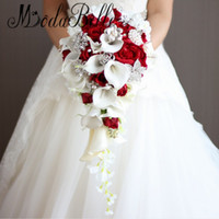 Wholesale Handmade Bouquets - Artificial Pearl And Crystal Bridal Bouquet Ivory Brides Handmade Brooch Bouquet Noiva Red Cascading Wedding Bouquet Waterfall