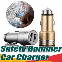 Wholesale Car Cellphone Charger - Dual 2-Port Usb Car Charger Safety Hammer Charger Adapter Aluminum Alloy Universal For Samsung S7 S8 Plus Cellphones