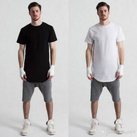 Wholesale Tall Men Casual Shirts - Wholesale Mens big and tall Clothing designer citi trends Clothes T shirt homme Curved hem Tee plain white Extended T shirt