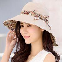 Wholesale Korea Fashion Street Wholesale - 5 Color Womens Sun Hats Reversible Beach Hat UV Protection Foldable Wide Brim Cap Travel Summer Church Hat Korea Fashion Bucket Hats