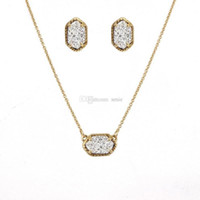 Wholesale Wholesale Druzy Earrings - Hot Popular Drusy Druzy Earrings Necklace Jewelry Set Silver Gold Plated Geometry Stone Earrings Necklaces Best for Lady Mix Colors