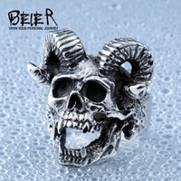 Wholesale Goat Fashion - Wholesale- Beier new store 316L Stainless Steel men ring Goat horns skull punk biker ring fashion jewelry LLBR8-406R