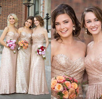 Wholesale Cheap Strapless Dresses For Women - 2017 Sweetheart Strapless Sequin Bridesmaid Dresses Rose Gold Sheath Dresses For Women Cheap Long Wedding Guest Dresses