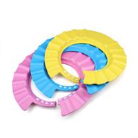 Wholesale baby shower shield - Adjustable Baby Kids Children Bath Shower Shampoo Cap Hat Wash Hair Shield Soft For Baby Kids Children