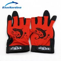 Wholesale Skidproof Clothes - Wholesale- BlueSardine Fishing Gloves ANTI SLIP 3 Half Fingers Clothing Sport Skidproof Mesh Material Fishing Tackle Gloves