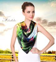Wholesale Elegant Winter Scarf Woman - Spring summer autumn winter 100% silk scarf beach shawl wraps square 110x110cm fashion pashmina noble elegant scarf for women lady GL-SK513