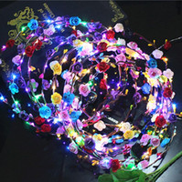 Wholesale Kids Wedding Headbands - 2017 Flashing LED Glow Flower Crown Headbands Light Party Rave Floral Hair Garland Wreath Wedding Flower Girl Headpiece decor