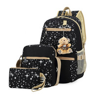 Wholesale Korean Set Phone - Wholesale- 3Pcs Set Korean Casual Women Canvas Backpacks Female Travel School Bags for Teenagers Girls Crossbody Bag + Clutch Purse