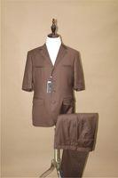 Wholesale Leisure Colours - Men's Suit With Short Sleeves Suit Frou Button Daily Leisure Brown Pure Colour (Jack and Pants)