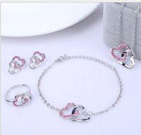 Wholesale womens silver heart necklace - Wedding Romantic Womens Heart Jewelry Sets Fashion Brand Austria Crystal Luxury Temperament Earrings Pendant Necklace Bracelet