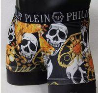Wholesale Black Men Boxers - Top new Vogue Men Underwear Boxers Shorts Luxury Brand Skull Design Male Waistband Sexy Male Underpant 6 pecs lot