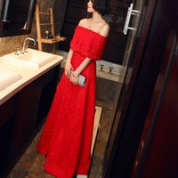 Wholesale Korean Long Evening Sexy Dress - Korean style word long shoulder red fashion sexy Bride Wedding Toast 2017 spring new hosted banquet evening dress