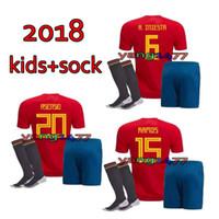Wholesale spain soccer jersey kids - Spain kids Jersey 2018 world cup Home red socks MORATA ISCO ASENSIO SHIRT Soccer Uniform Quality Football Kit Soccer Jerseys Short