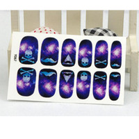 Wholesale Nail Stickers Skulls - Manicure Acrylic Decals Auto Adhesive Nail Art Stickers Skull Horrible Purple Ghost Design Nail Wraps Stickers