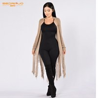 Wholesale Womens Tassel Bathing Suits - Wholesale-Womens Long Sleeve Cardigan Hollow Knit Knitwear Sweater Coat Beach Dress Plus Size Tunic Swimsuit Bathing Suit Cover UP