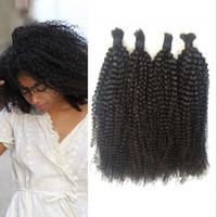 Wholesale Human Hair Extensions For Braids - 4Pcs Bulk Hair No Weft Brazilian Kinky Curly Bulk Human Hair Extensions For Braiding No Attachment G-EASY