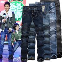 Wholesale Motor Jeans - New High street motor Biker Mens Slim Fit folds Jeans Washed Moto gray blue skinny pants for men