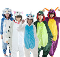 Wholesale Dinosaur Pyjamas - Wholesale- Kigucos Dinosaur Stitch Winter Pajamas For Women Men Warm Flannel Adult Homewear Winter Loungewear Sleep Couple Animal Pyjamas