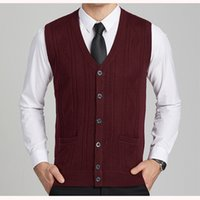 Wholesale Cardigan Sweater Vest Men - New Men's Brand Wool Knit Vest V Neck Fashion Casual Basic Cardigan Sleeveless Sweater for Autumn Winter Buttons Down K1801