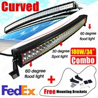 Wholesale Super Bright Bar Offroad - 33inch 180W Super Bright LED Offroad Light Bar Curved LED Work Light Bar Spot Flood Combo Beam for Boat Jeep Truck 4x4 ATV Tractor Lamp
