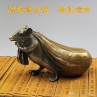 Wholesale Bronze Rat - Pure copper rat fortune yellow money mouse wangs shop window for antique bronze ware