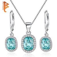 kristal kolye takımı setleri toptan satış-BELAWANG Claer Kristal Dangle EaringsPendant Kolye Setleri Kadınlar için 925 Ayar Gümüş Takı Setleri Orijinal Takı Parti Hediye