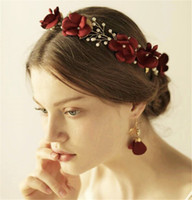 Casamento Bridal Silk Flower Crown Headband Red Rose Tiara Gold Crystal Leaf Hair Band Acessórios Brincos Jóias Set Party Prom Headdress