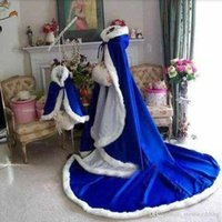 Wholesale Ladies Hooded Cloaks - 2018 Hot Selling Bridal Winter Cape Several Colors Available Hooded Ladies Warm Wedding Cloak 100% High Quality