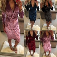 Wholesale Sexy Dress For Night Party - Hot Selling Summer Dresses for Women Irregular Velvet Dress Sexy Deep V Neck Long Sleeve Plunging Dress Party Dresses CK1094