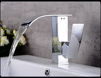 Wholesale Top Waterfall Faucet - Top Bathroom Hotel Square Handle Water Tap Flat Outlet Waterfall Mixer Tap Exquisite Brass Low lead Thicken faucet for Wash Basin Sink