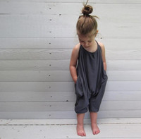 Wholesale Tutu Rompers For Girls - Girls Kids Summer Suspender Backless Onesies Rompers Overalls Jumpsuits For Baby Toddlers Children Cotton Loose Jumpsuits Knickers