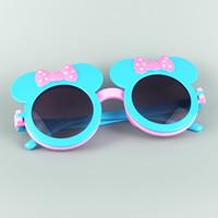 Wholesale Double Color Bowtie - 2016 New Kawai Girls Lovely Versatile Clamshell Sunglasses Bowtie Decoration Minnie Style Flip Frame With Double Lens 20pcs Lot