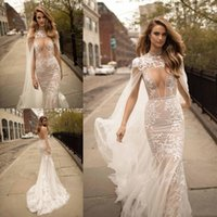Wholesale white cape for wedding dress for sale - Group buy 2019 Berta Mermaid Wedding Dresses Sexy Cape Plunging Neck Backless Bridal Gowns Sweep Train With Detachable Appliques for Wedding DTJ