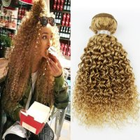 Wholesale Human Hair Tissage Curly - Single Bundle Blonde Curly Hair Extensions Honey Blonde Human Hair Weft Brazilian Curly Virgin Hair Weave Cheveux Tissage 27# Unifos