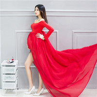 Wholesale Slim Fit Maxi Dresses - Hot sale Maternity Elegant Fitted Maternity Gown for Photography Long Sleeve Slim Fit Maxi Photography Dress Purple White Pink Red BLue