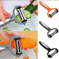 Wholesale Plastic Orange Peelers - Carrot Melon Potato Peeler Multifunction Stainless Steel Fruit Vegetable Peeler Rotary Blade Potato Orange Kitchen Tool 50pcs OOA2473