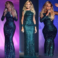 Wholesale Glittery Gold Dresses - New Green Beyonce Glittery Sequined Long Sleeve Evening Dresses Mermaid Long Celebrity Dresses Sexy Floor Length Sequined Red Carpet Dress