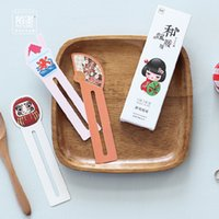 Wholesale Cute Cat Bookmarks - Wholesale- 30 Bookmarks lot Japanese Doll Lucky Cat Kawaii Bookmark Cute Japanese Stationery Gift Card DIY Functional Bookmarks