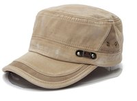 Wholesale Vintage Cadet Hats - Unisex Cotton Blend Military Washed Baseball Cap Vintage Army Plain Flat Cadet Hat For Men Women
