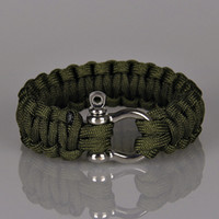 Wholesale Military Climbing Rope - 5Colors Emergency Bracelets Camping Aids Paracord O D Shaped Steel Buckle Retro Bracelet Military Bangles Men Survival Outdoor Climbing Rope