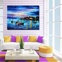 Wholesale Landscape Ocean Oil Painting - Free Shipping 100% Hand-Painted Oil Painting Picture Abstract Blue Ocean Scenery Corridor Household Decorates Wall Art Canvas