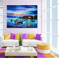 pintura al óleo libre del océano al por mayor-Envío gratis 100% pintado a mano pintura al óleo cuadro abstracto azul océano paisaje corredor hogar decora arte de la pared lienzo